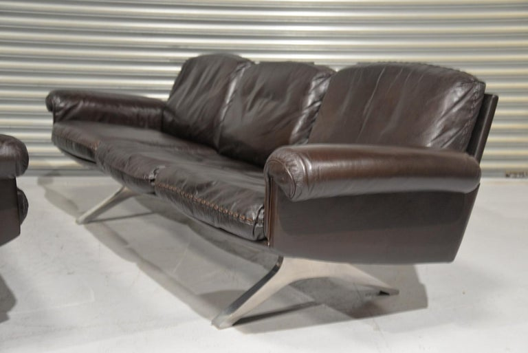 Vintage De Sede DS 31 Leather Three-Seat Sofas, Switzerland 1970s For Sale 4