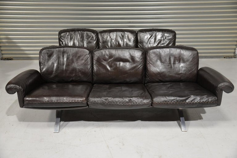 Mid-Century Modern Vintage De Sede DS 31 Leather Three-Seat Sofas, Switzerland 1970s For Sale