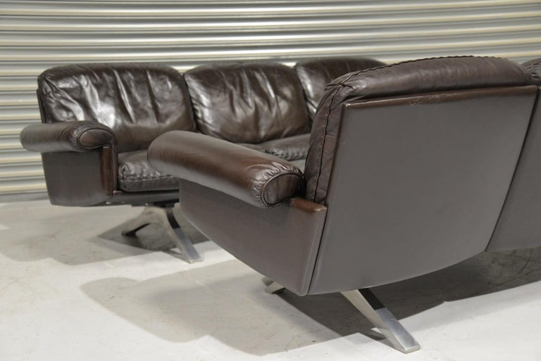 Late 20th Century Vintage De Sede DS 31 Leather Three-Seat Sofas, Switzerland 1970s For Sale