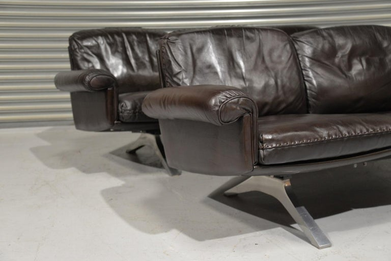 Vintage De Sede DS 31 Leather Three-Seat Sofas, Switzerland 1970s For Sale 1