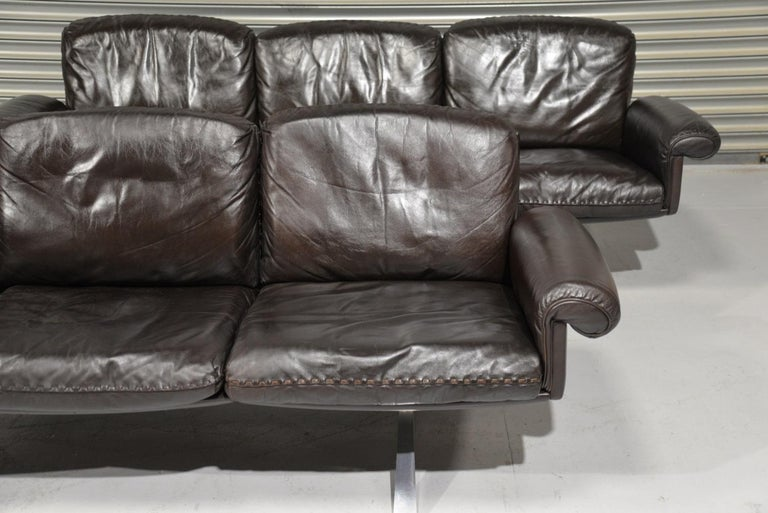 Vintage De Sede DS 31 Leather Three-Seat Sofas, Switzerland 1970s For Sale 2
