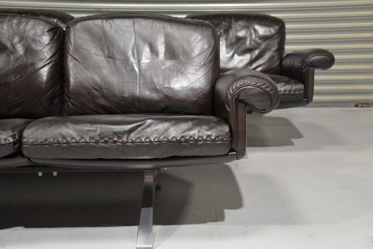 Vintage De Sede DS 31 Leather Three-Seat Sofas, Switzerland 1970s For Sale 3