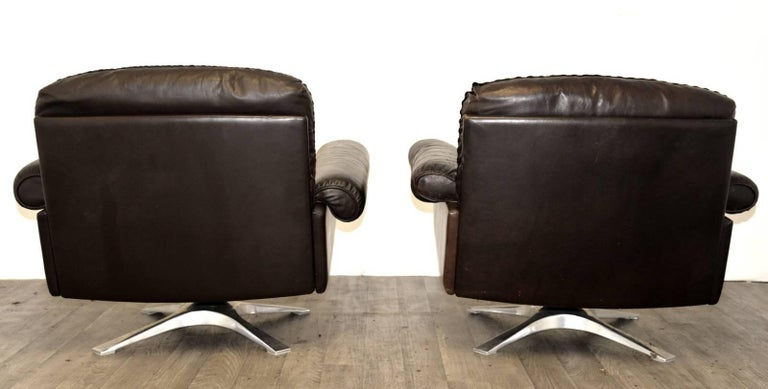 Vintage De Sede DS 31 Leather Sofa and Swivel Armchairs, Switzerland 1970s For Sale 1