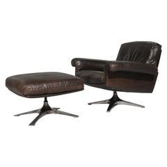 Vintage De Sede DS 31 Swivel Lounge Armchair and Ottoman, Switzerland, 1970s