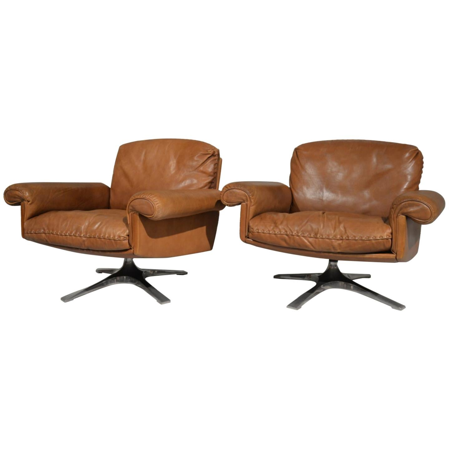 Vintage De Sede DS 31 Leather Swivel Lounge Armchairs, 1970s