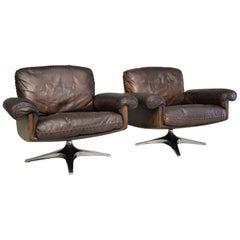 Vintage De Sede DS 31 Swivel Lounge Armchairs and ottoman, 1970s