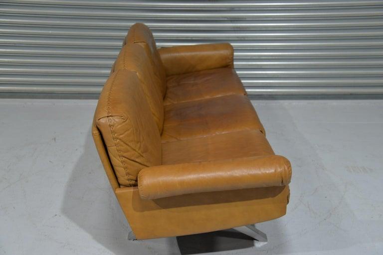 Vintage De Sede DS 31 Leather Three-Seat Sofa, Switzerland 1970s In Good Condition For Sale In Fen Drayton, Cambridgeshire