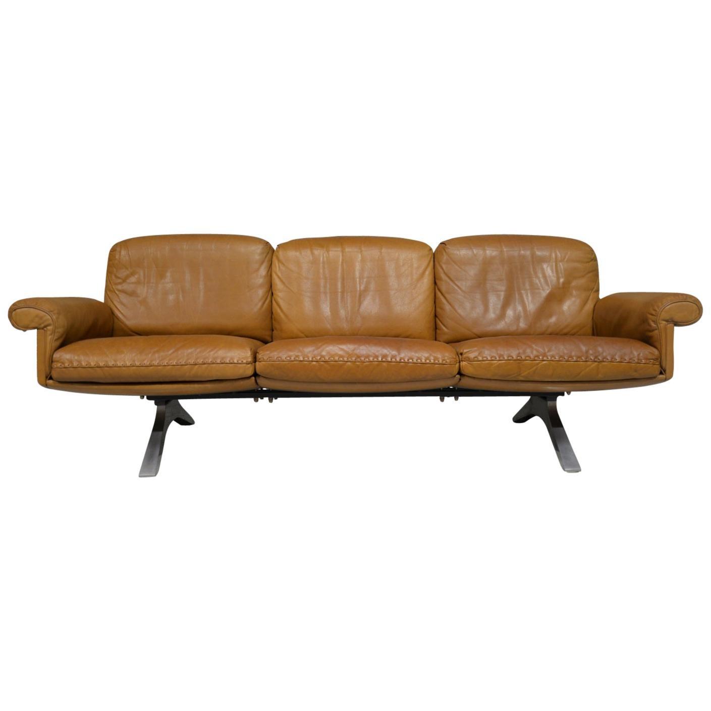 Vintage De Sede DS 31 Leather Three-Seat Sofa, Switzerland 1970s
