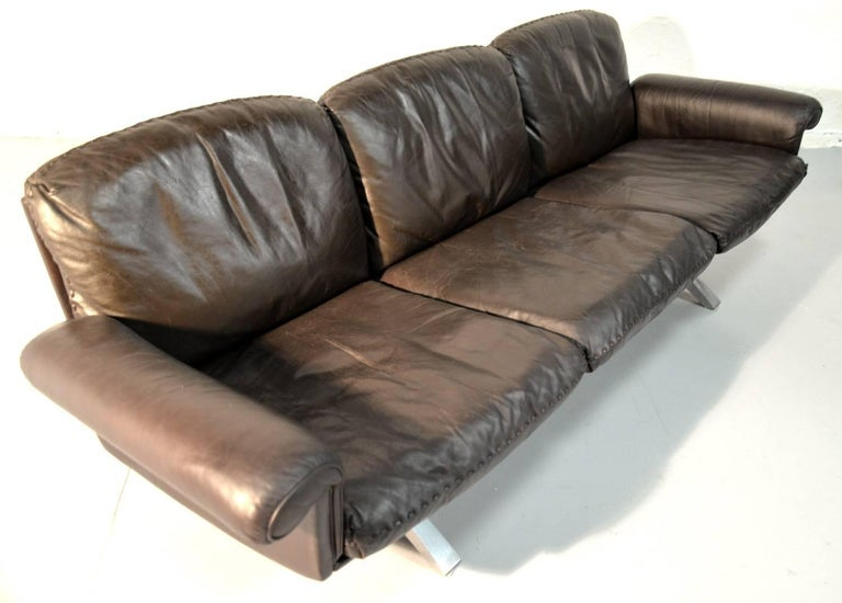 Vintage De Sede DS 31 Leather Three-Seat Sofas, Switzerland 1970`s For Sale 10