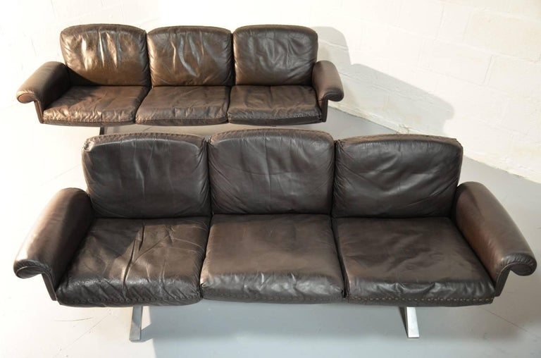 Swiss Vintage De Sede DS 31 Leather Three-Seat Sofas, Switzerland 1970`s For Sale