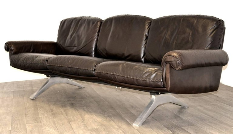 Late 20th Century Vintage De Sede DS 31 Leather Three-Seat Sofas, Switzerland 1970`s For Sale