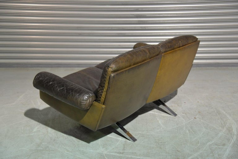 Vintage De Sede DS 31 Leather Two-Seat Sofa or Loveseat, Switzerland 1970s For Sale 1