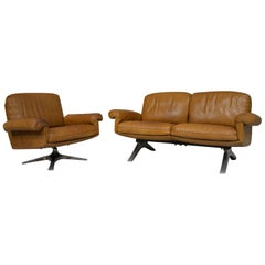Vintage De Sede Ds 31 Two-Seat Sofa with Swivel Armchair, Switzerland, 1970s