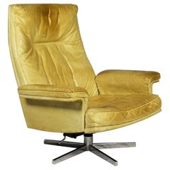 Vintage De Sede DS 35 Leather Swivel Armchair, Switzerland, 1969s