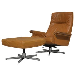Vintage De Sede DS 35 Leather Swivel Armchair with Ottoman, Switzerland, 1970s