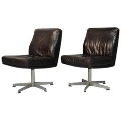 Vintage De Sede DS 35 Leather Swivel Office Chairs, Switzerland, 1960s