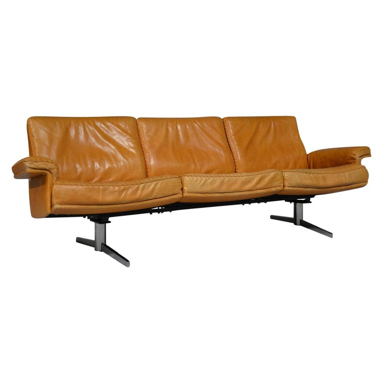 Vintage De Sede DS 35 Leather Three-Seat Sofa, Switzerland, 1960s For Sale