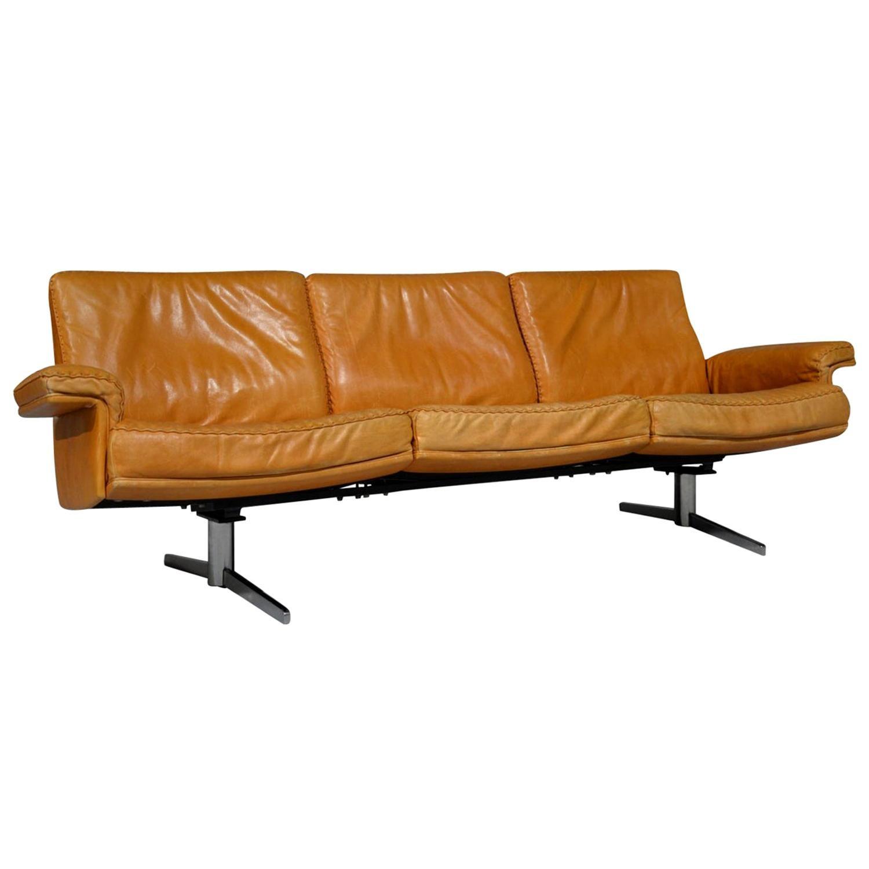 Vintage De Sede DS 35 Leather Three-Seat Sofa, Switzerland, 1960s