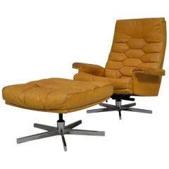 Vintage De Sede DS 35 Swivel Armchair and Ottoman by Robert Haussmann, 1970s
