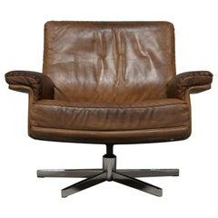 Vintage De Sede Ds 35 Swivel Leather Armchair, Switzerland, 1970s