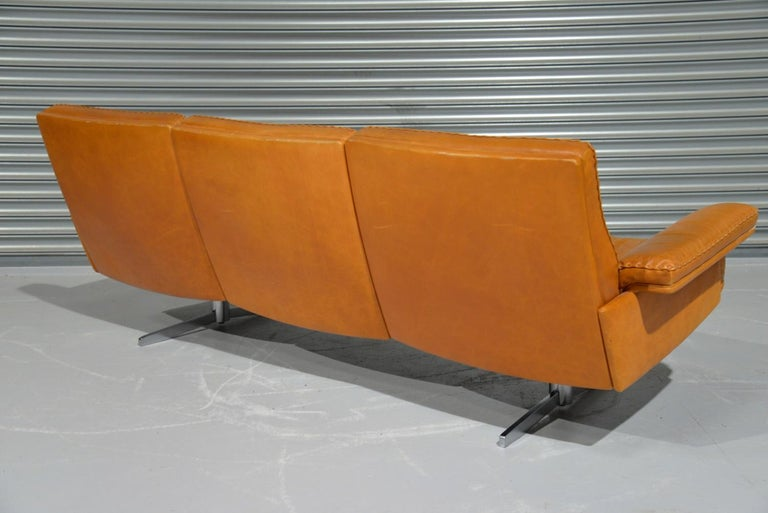 Vintage De Sede DS 35 Leather Three-Seat Sofa, Switzerland 1960s For Sale 1
