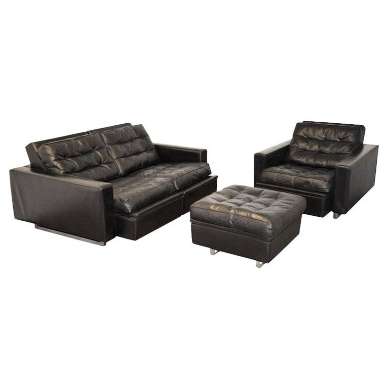 """Vintage de Sede DS 3A """"New Yorker"""" Two-Seat Reclining Sofa Set, 1970s"""