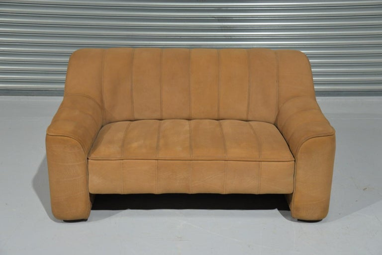 Mid-Century Modern Vintage De Sede DS 44 Leather Two-Seat Sofa or Loveseat Switzerland 1970`s For Sale