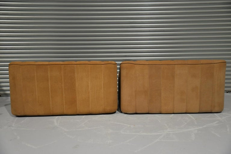 Wood Vintage De Sede DS 44 Two-Seat Neck Leather Sofas / Loveseats, Switzerland 1970s For Sale