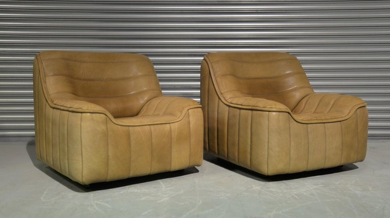 Discounted airfreight for our US and International customers (from 2 weeks door to door)  We are delighted to bring to you a pair of ultra rare vintage De Sede DS 84 armchairs. Hand built in the 1970s by De Sede craftsman in Switzerland, these