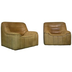 Vintage De Sede DS 84 Neck Leather Armchairs, Switzerland, 1970s