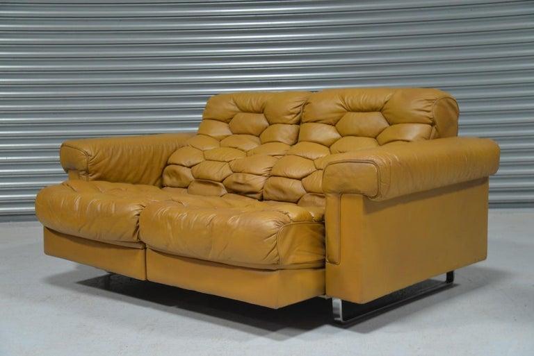 Mid-Century Modern Vintage De Sede DS-P Reclining Sofa by Robert Haussmann, Switzerland, 1970s For Sale