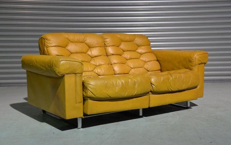 Vintage De Sede DS-P Sofa Set in Cognac Leather by Robert Haussmann, 1970s For Sale 4