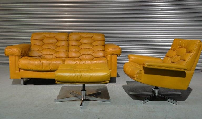 Mid-Century Modern Vintage De Sede DS-P Sofa Set in Cognac Leather by Robert Haussmann, 1970s For Sale