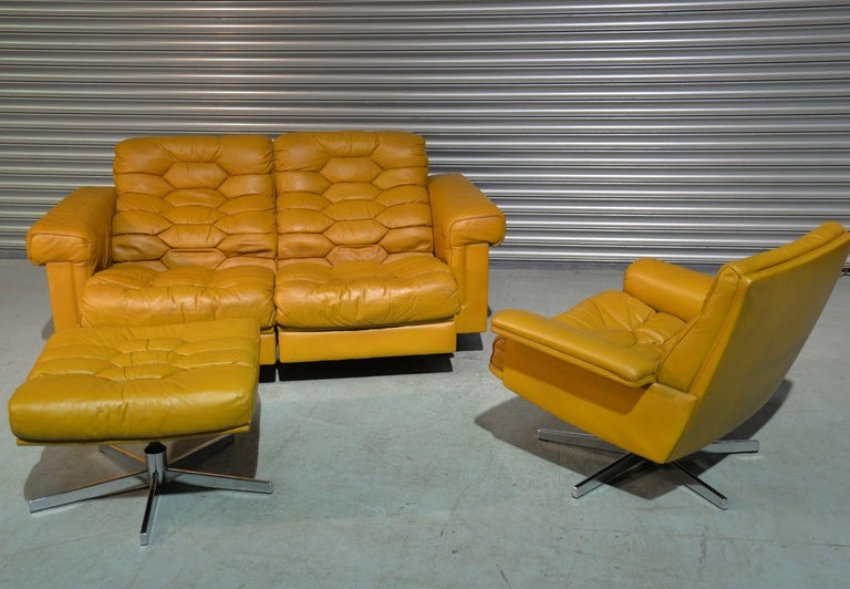 Swiss Vintage De Sede DS-P Sofa Set in Cognac Leather by Robert Haussmann, 1970s For Sale