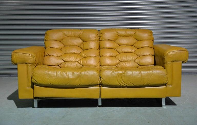 Vintage De Sede DS-P Sofa Set in Cognac Leather by Robert Haussmann, 1970s In Good Condition For Sale In Fen Drayton, Cambridgeshire