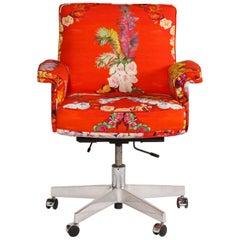 Vintage De Sede Executive Swivel Chair in Voutsa Mimi Chinoiserie Cotton