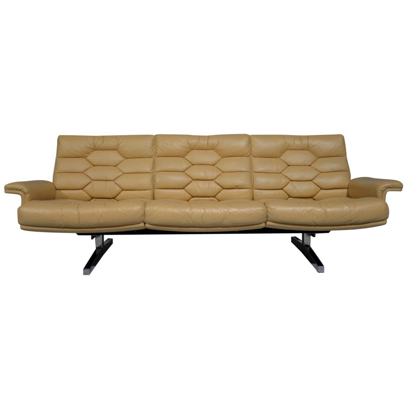 Vintage De Sede Leather DS-P Sofa by Robert Haussmann, Switzerland, 1970s