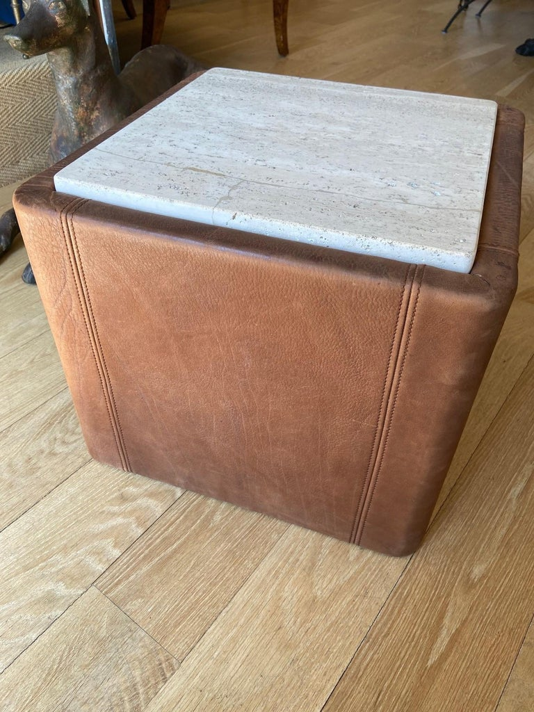 De Sede vintage side tables, structure furnished with chocolate colored leather with polished travertine top.
