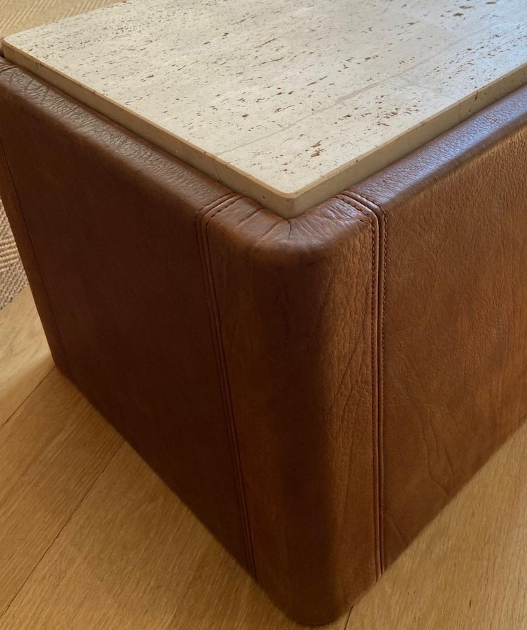Hand-Crafted Vintage De Sede Leather & Travertine Pair of Side Table For Sale