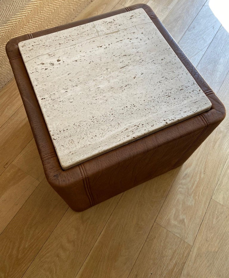 Vintage De Sede Leather & Travertine Pair of Side Table In Good Condition For Sale In Los Angeles, CA
