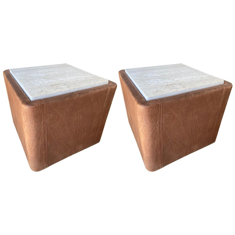 Vintage De Sede Leather & Travertine Pair of Side Table For Sale