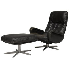 Vintage De Sede S 231 James Bond Swivel Armchair and Ottoman, Switzerland, 1960s