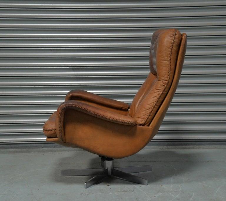 Leather Vintage De Sede S 231 James Bond Swivel Armchair with Ottoman, Switzerland 1960s For Sale