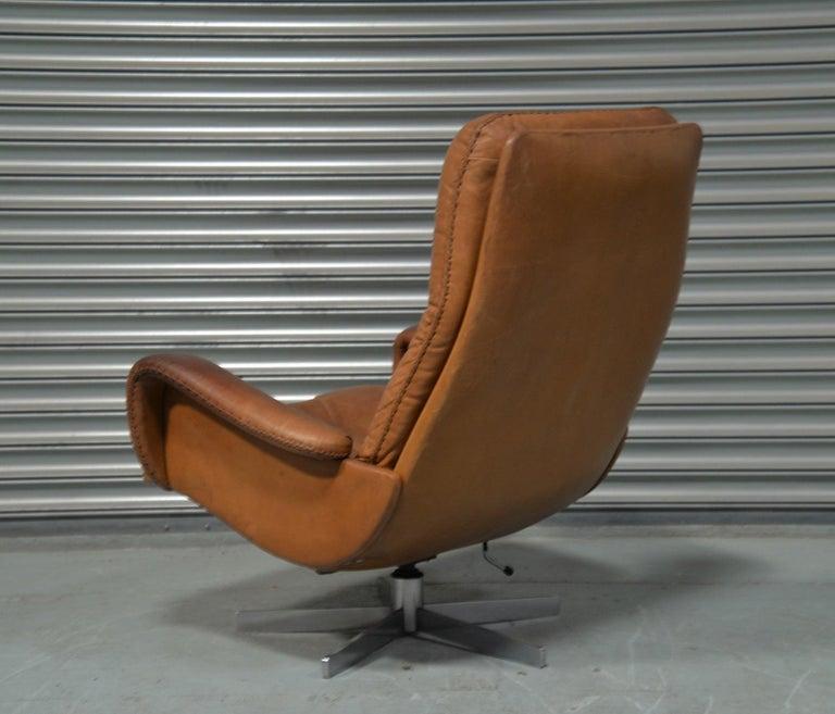 Vintage De Sede S 231 James Bond Swivel Armchair with Ottoman, Switzerland 1960s For Sale 1