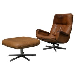 Vintage De Sede S 231 James Bond Swivel Armchair with Ottoman, Switzerland 1960s