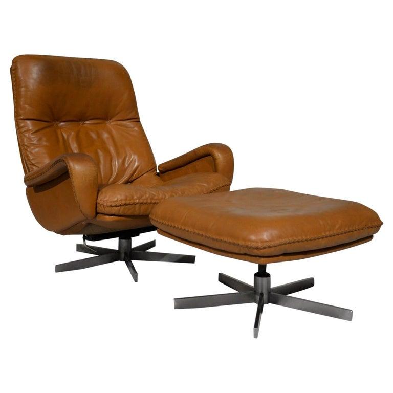 Vintage De Sede S 231 James Bond Swivel Armchair with Ottoman, Switzerland 1960s For Sale