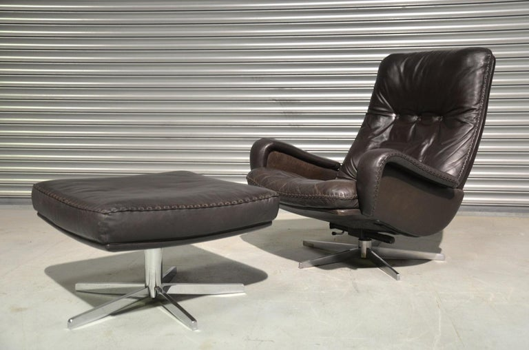 Swiss Vintage De Sede S 231 James Bond Swivel Armchair and Ottoman, Switzerland 1960s