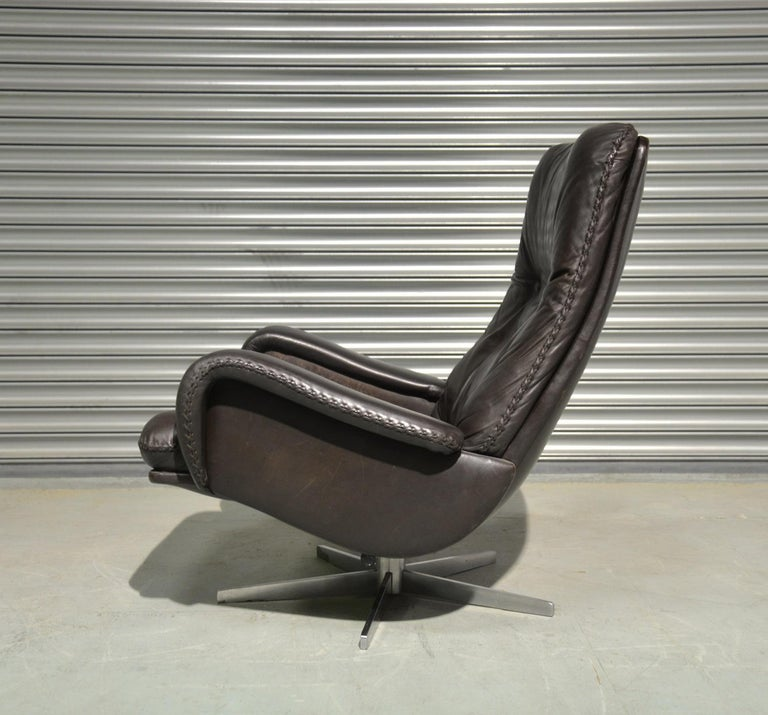 Leather Vintage De Sede S 231 James Bond Swivel Armchair and Ottoman, Switzerland 1960s