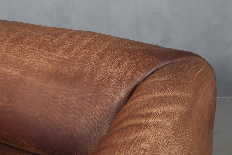 Mid-Century Modern Vintage De Sede Three-Seat Sofa, DS47, Patinated Leather For Sale