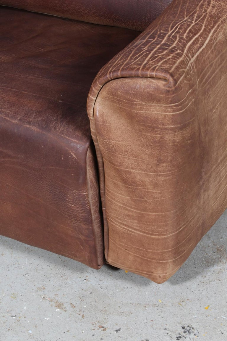 Swiss Vintage De Sede Three-Seat Sofa, DS47, Patinated Leather For Sale